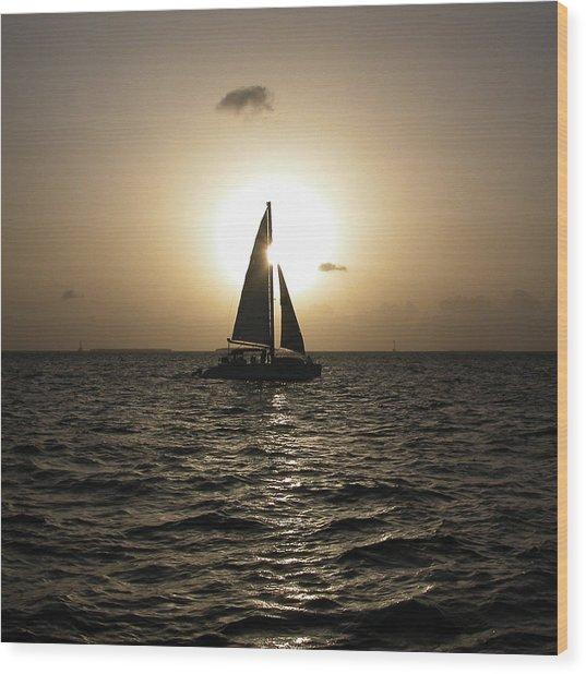 Sunset Sail - Key West Wood Print