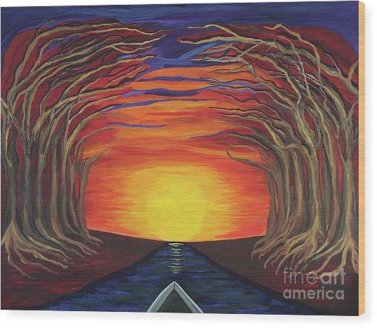 Treetop Sunset River Sail Wood Print