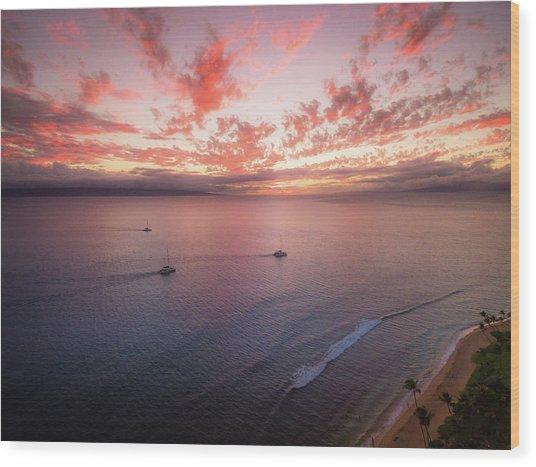 Sunset Sail Kaanapali Maui Wood Print by Seascaping Photography