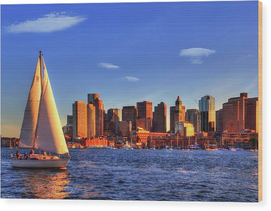 Sunset Sail On Boston Harbor Wood Print