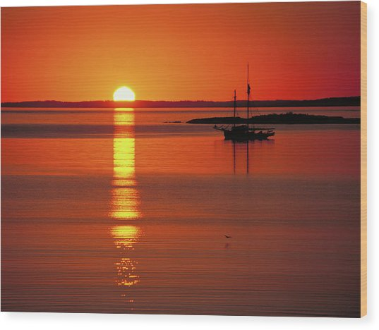 Sunset Sail Wood Print