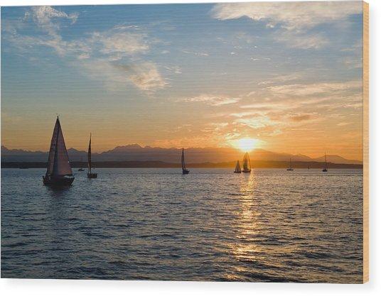 Sunset Sailboats Wood Print by Tom Dowd