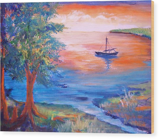 Sunset Sailing Wood Print by Anne Dentler