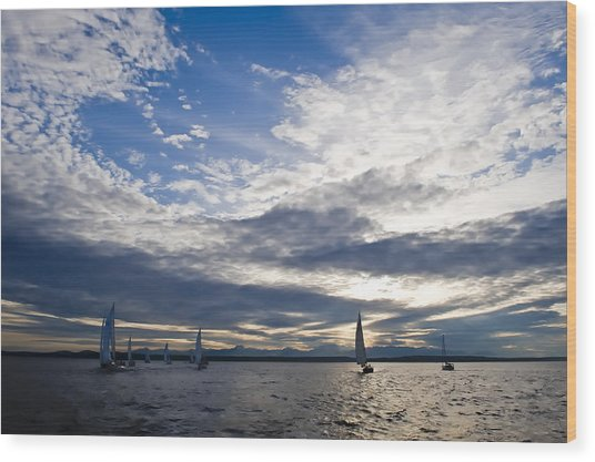Sunset Sailing Wood Print by Tom Dowd