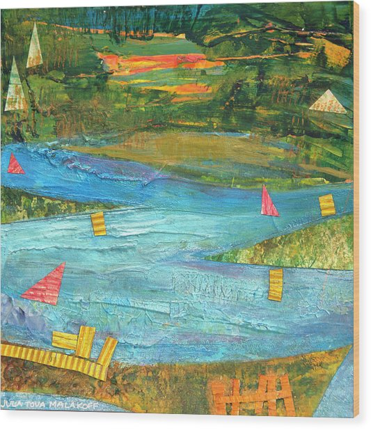 Sunset Sails 2 Wood Print
