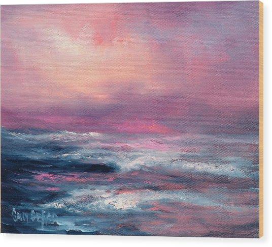 Sunset Sea Wood Print by Sally Seago