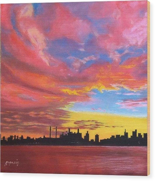 Sunset Silhouette...a Rainbow Of Colors Wood Print by Harvey Rogosin