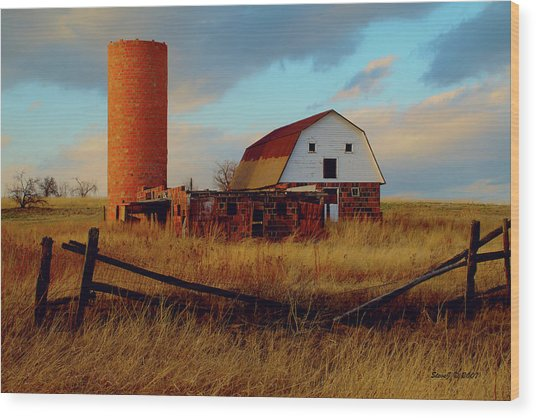 Sunset Silo Barn Wood Print