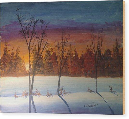Sunset Snow Wood Print