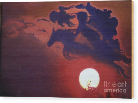 Sunset Steeplechase Wood Print
