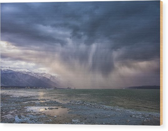 Sunset Storm Over Mono Lake Wood Print