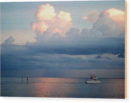 Sunset Storm Wood Print by Steven Scott