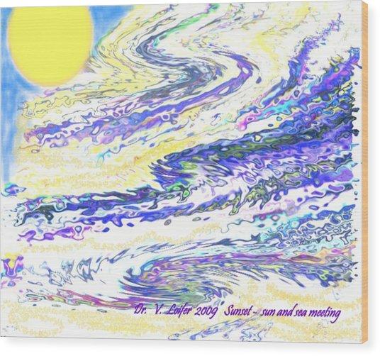 Sunset-sun And Sea Meeting Wood Print by Dr Loifer Vladimir