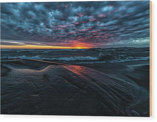 Wood Print featuring the photograph Sunset Surf by Doug Gibbons