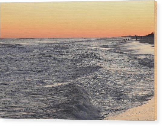 Sunset Surf Fishing Wood Print