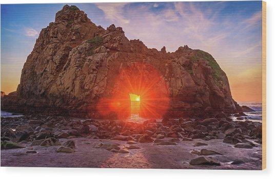 Sunset Through  Wood Print
