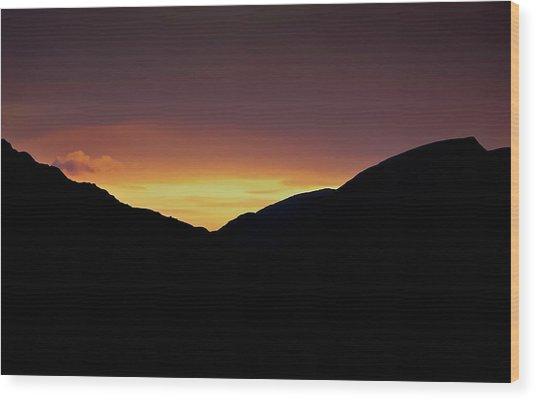 Sunset Through The Gap Wood Print