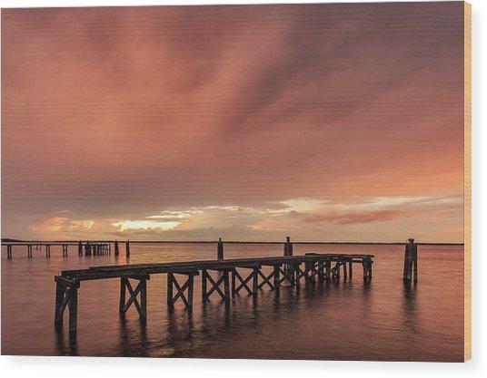Sunset Thru Storm Clouds Wood Print