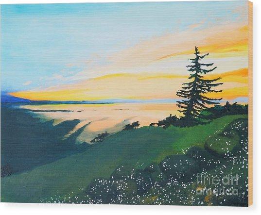 Sunset Wood Print by Tiina Rauk