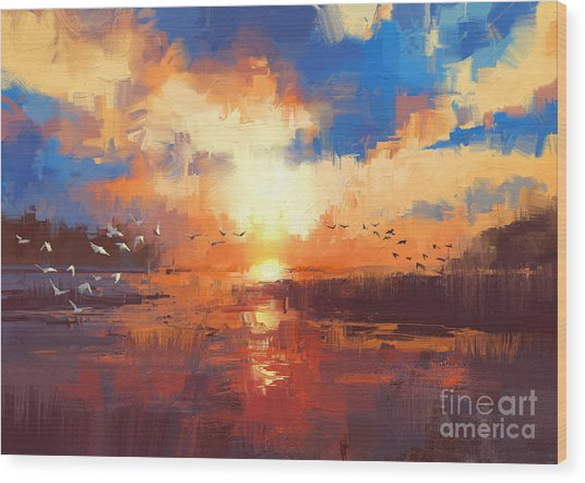 Wood Print featuring the painting Sunset by Tithi Luadthong