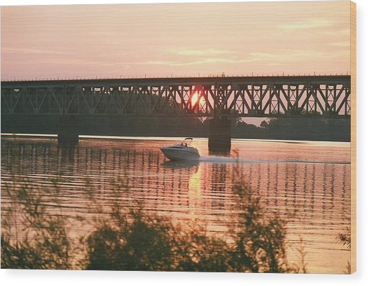 Sunset Under The Cbq Railroad Bridge Wood Print by C E McConnell