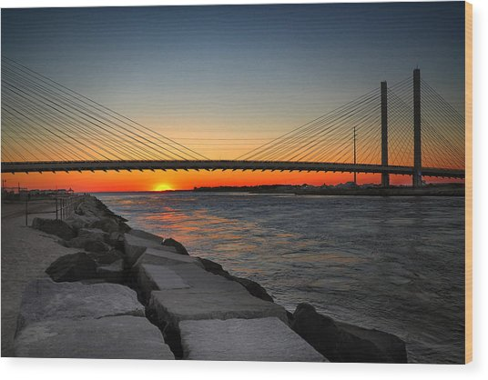Sunset Under The Indian River Inlet Bridge Wood Print
