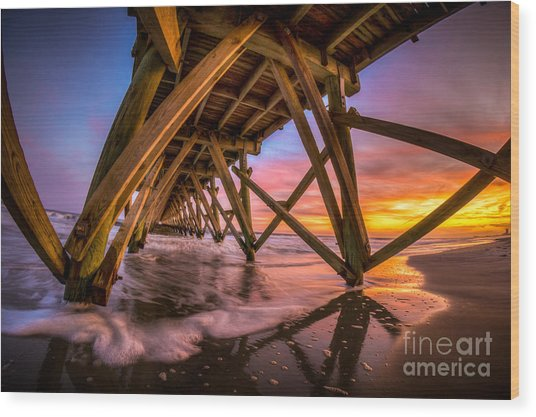 Sunset Under The Pier Wood Print