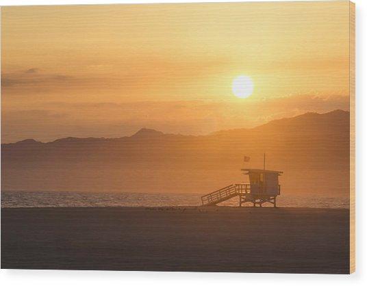 Sunset Venice Beach  Wood Print