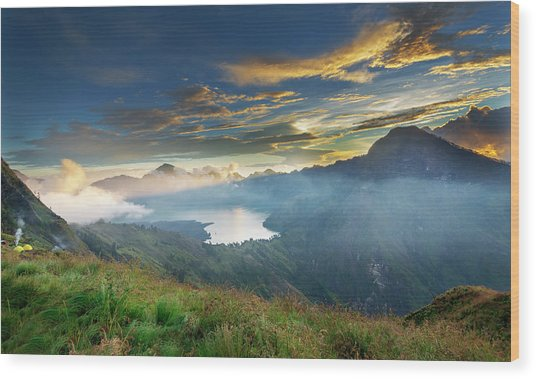 Wood Print featuring the photograph Sunset View From Mt Rinjani Crater by Pradeep Raja Prints