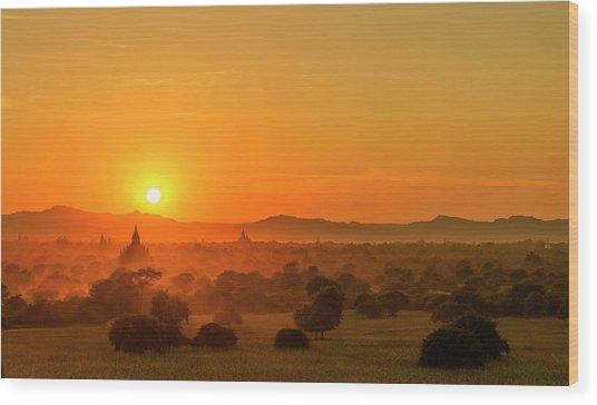 Sunset View Of Bagan Pagoda Wood Print