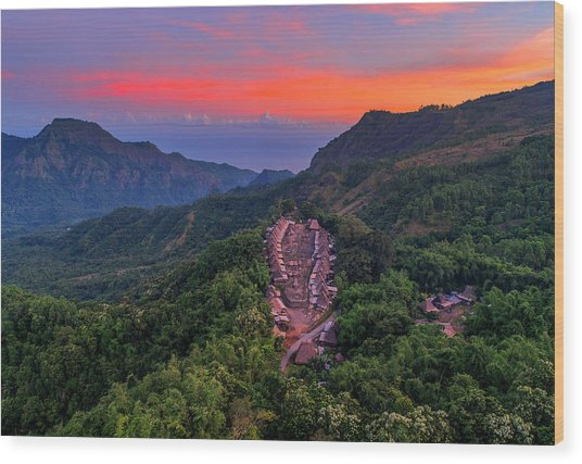 Wood Print featuring the photograph Sunset View Of Bena Tribal Village - Flores, Indonesia by Pradeep Raja PRINTS