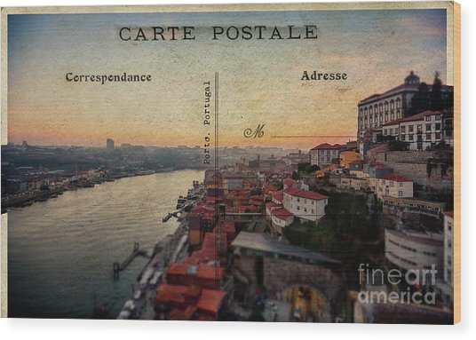 sunset view of the Douro river and old part of  Porto, Portugal Wood Print