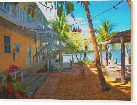 Sunset Villas Patio Wood Print