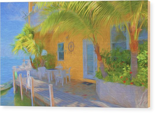Sunset Villas Waterfront Apartment Wood Print