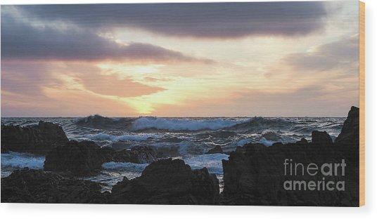 Sunset Waves, Asilomar Beach, Pacific Grove, California #30431 Wood Print