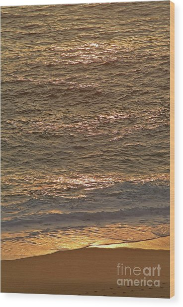 Sunset Waves Over Carmel Beach Wood Print