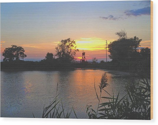 Sunset West Of Myer's Bagels Wood Print