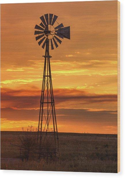 Sunset Windmill 01 Wood Print