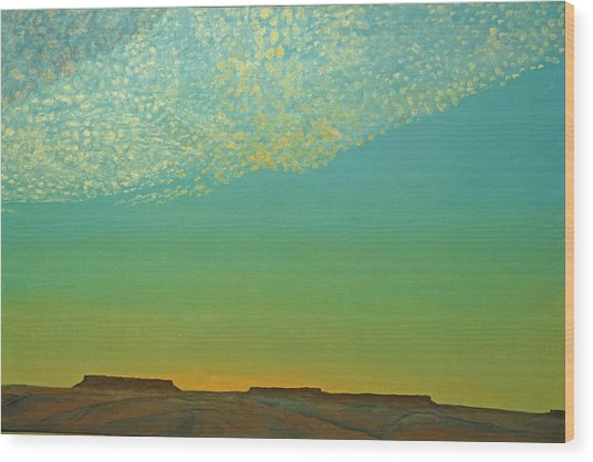 Sunset With Alto Cumulous Wood Print