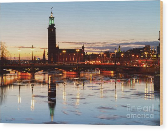 Sunset With Cityhall Of Stockholm Wood Print