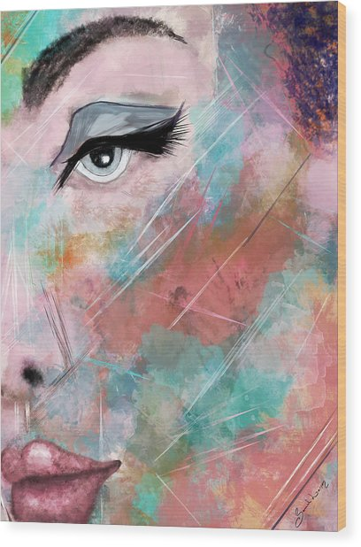 Sunset - Woman Abstract Art Wood Print