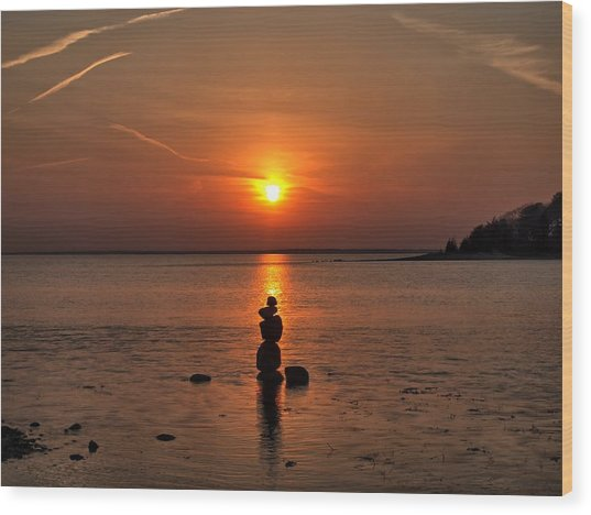 Sunset Zen Wood Print
