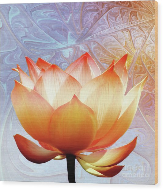Sunshine Lotus Wood Print