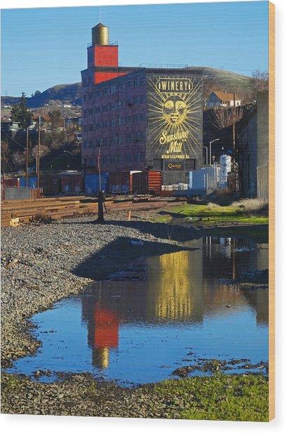 Sunshine Mill Reflection Wood Print
