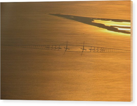 Sunshine Skyway Bridge At Sunset Wood Print
