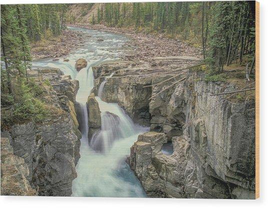 Wood Print featuring the photograph Sunwapta Falls 2006 01 by Jim Dollar