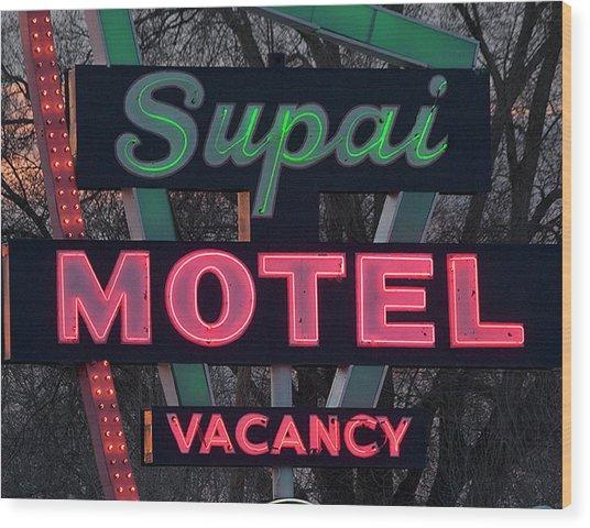 Supai Motel Neon Wood Print