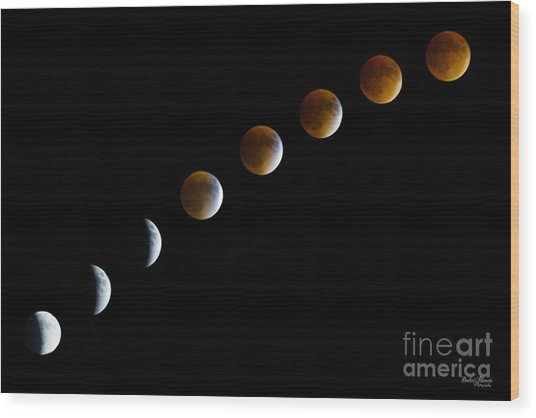 Super Blood Moon Time Lapse Wood Print