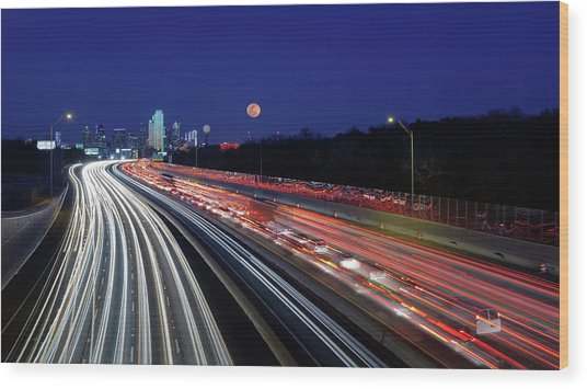 Super Moon And Dallas Texas Skyline Wood Print