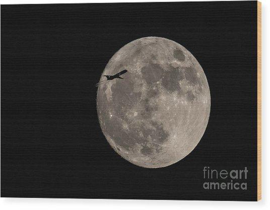 Super Moon And Plane Wood Print by Jennifer Ludlum